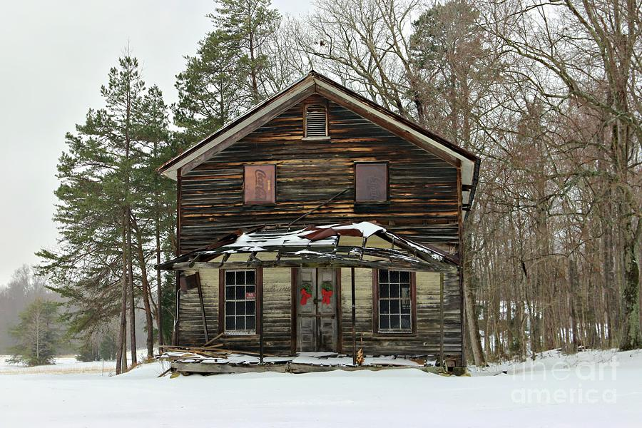 General Store Photograph - Snow On The General Store by Benanne Stiens