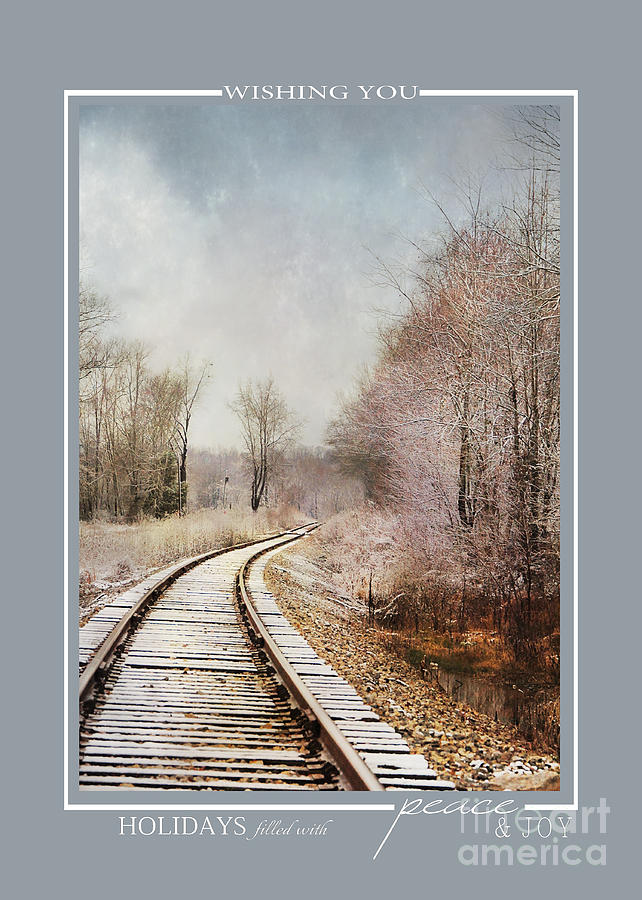 Snow On The Tracks Winter Scene Christmas Cards Photograph by Jai ...