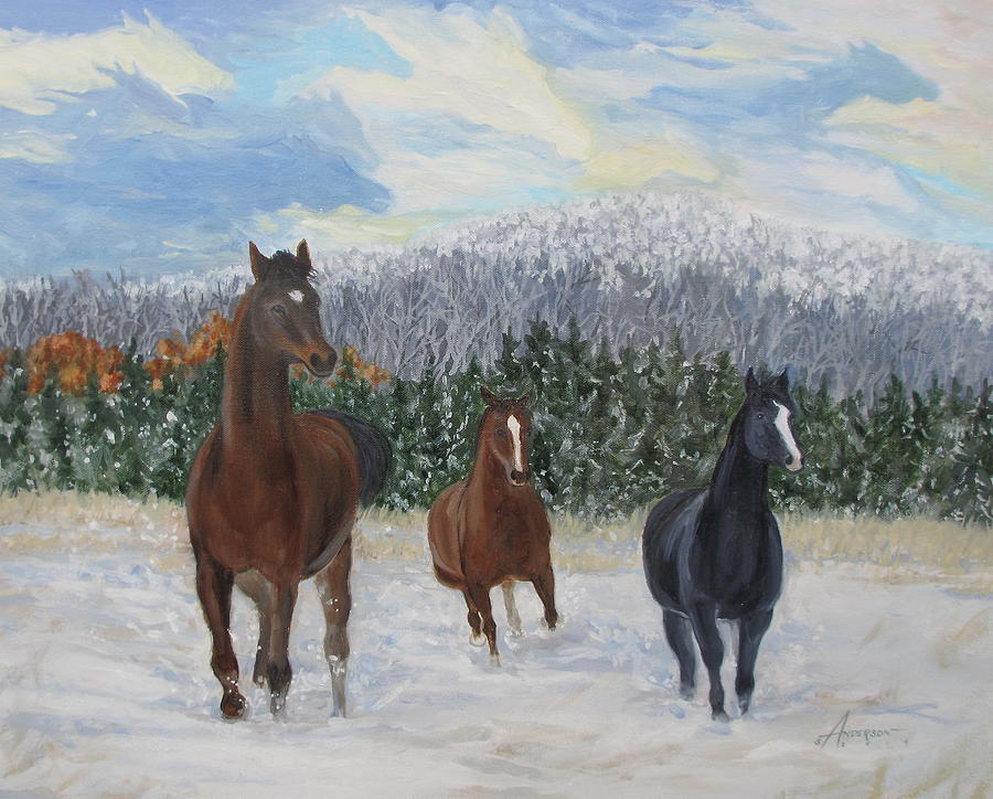 Horses Painting - Snow Runners by Sherri Anderson