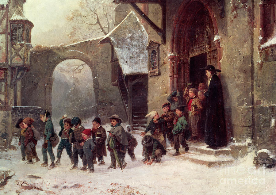 Snow Scene Children Leaving School Painting By Marc Louis