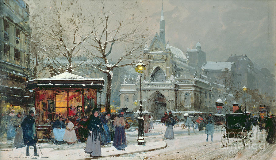 Gas Light Painting - Snow Scene In Paris by Eugene Galien-Laloue