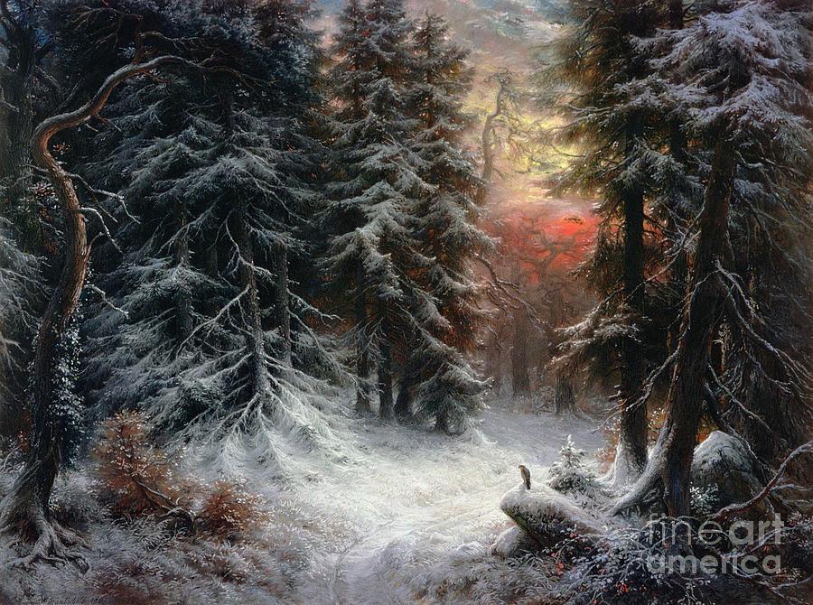 Winter Painting - Snow Scene in the Black Forest by Carl Friedrich Wilhelm Trautschold