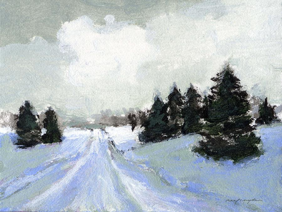 Winter Landscape Painting - Snow scene by J Reifsnyder