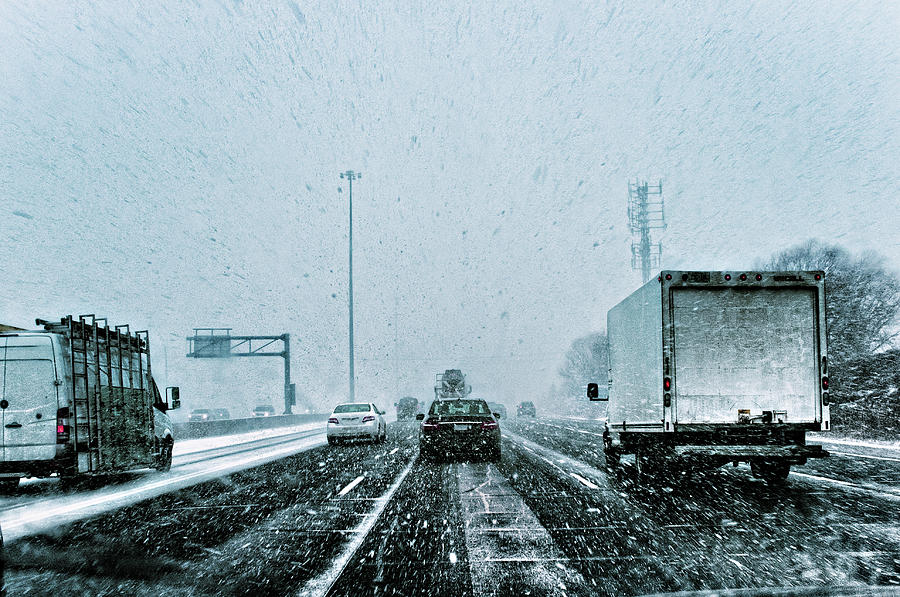 Snow Squall On The Highway Photograph by Janice Lin