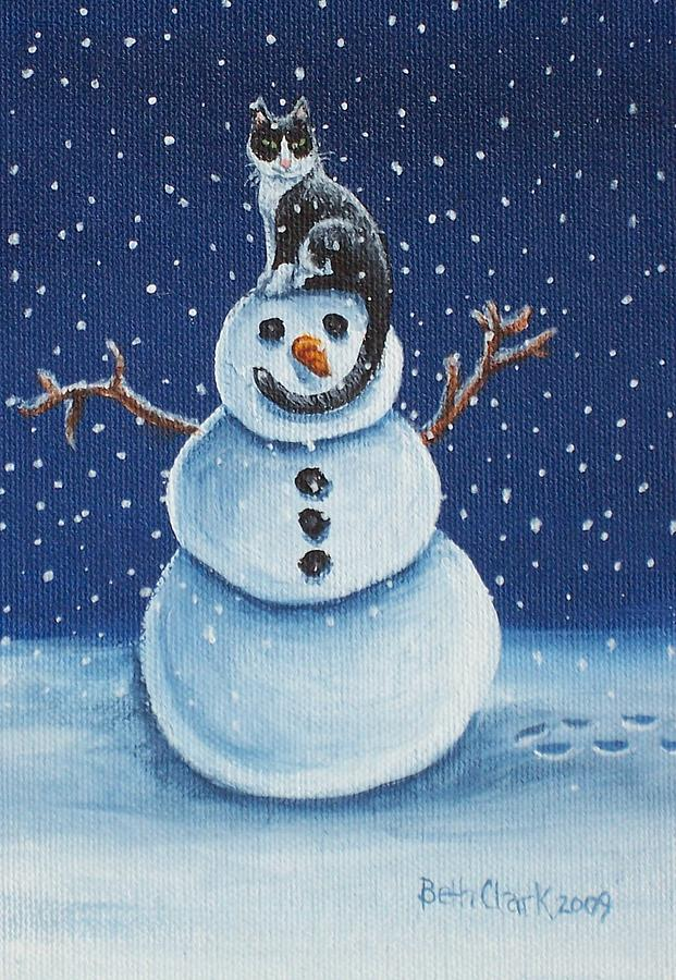 Cats Painting - Snow Stormie by Beth Clark-McDonal