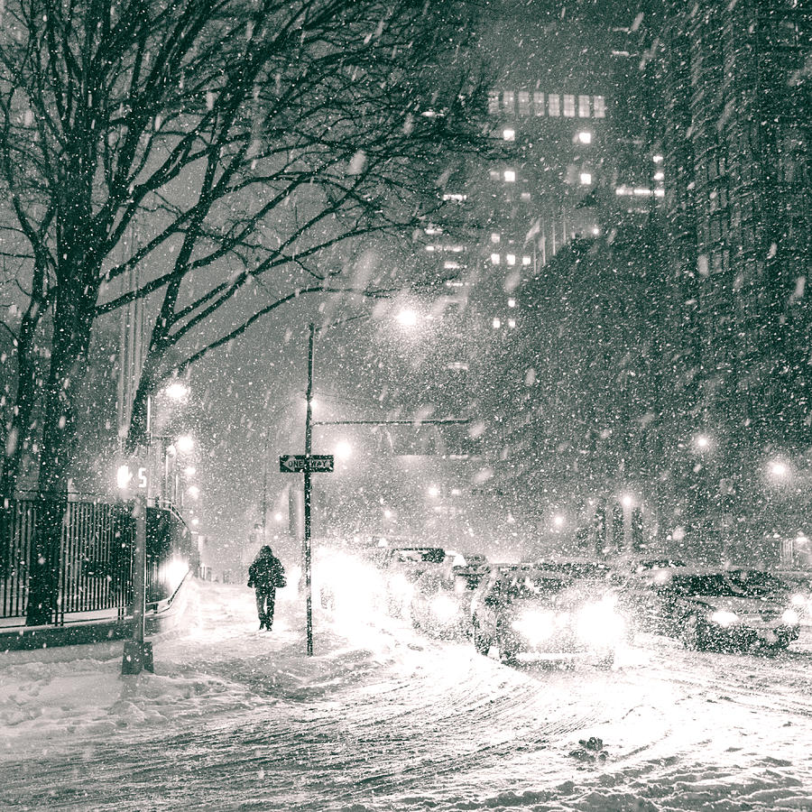Nyc Photograph - Snow Swirls At Night In New York City by Vivienne Gucwa