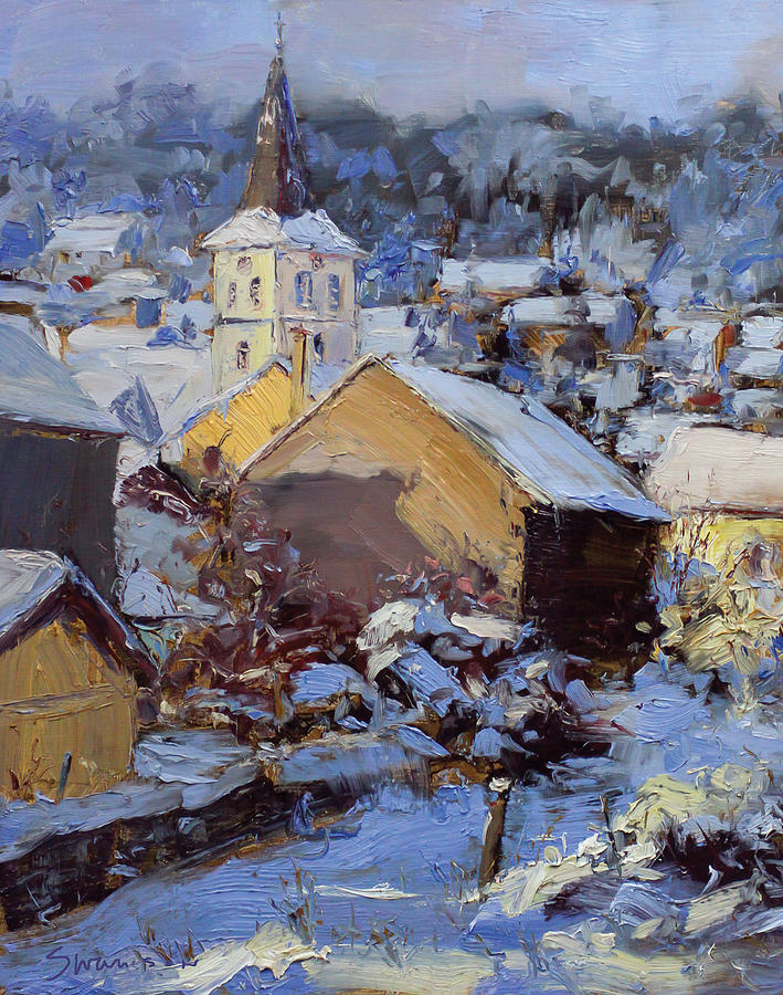 Snow Painting - Snow Village by James Swanson