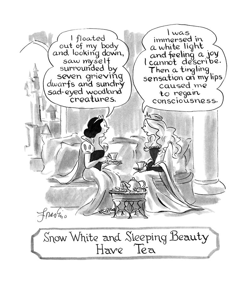 Snow White And Sleeping Beauty Have Tea Drawing by Edward Frascino