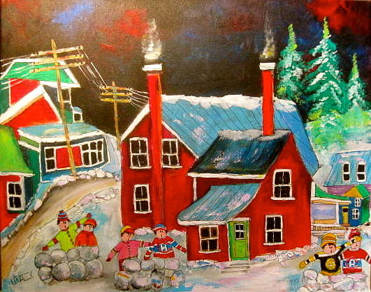 Snowball Fights Painting - Snowball Forts by Michael Litvack