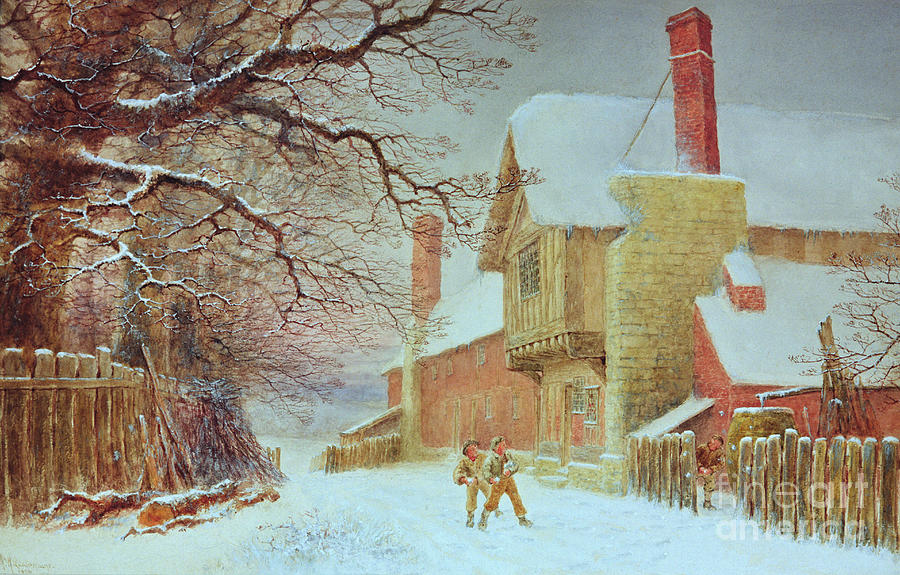 Winter Painting - Snowballing At Tiddlington by William W Quatremain