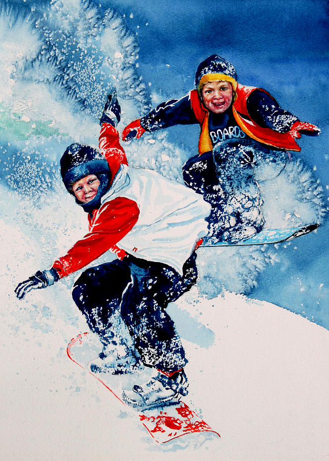 Sports Painting - Snowboard Psyched by Hanne Lore Koehler