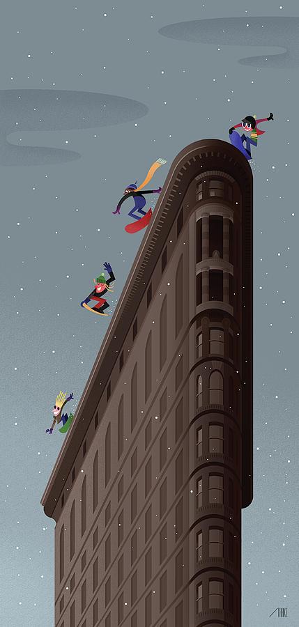 Snowboarders Fly Off The Flatiron Halfpipe Digital Art by Bob Staake