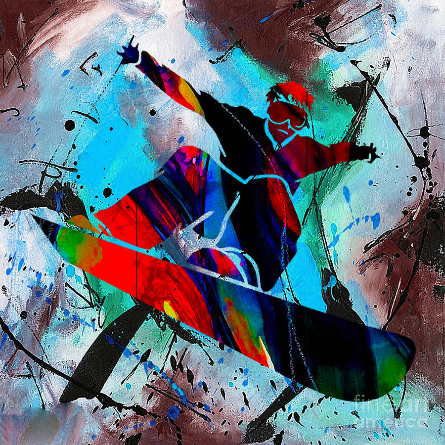 Snowboard Mixed Media - Snowboarding Painting by Marvin Blaine