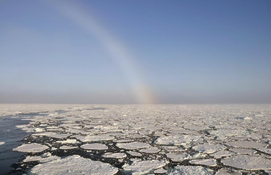 Saga Ruby Photograph - Snowbow Over Pack Ice by Anthony Cooper/science Photo Library