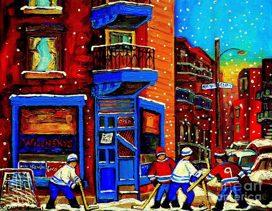 Montreal Painting - Snowday Hockey Practice Wilenskys Corner Fairmount And Clark Montreal City Scene Carole Spandau by Carole Spandau