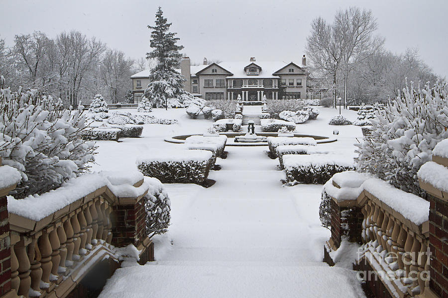 Longview Photograph - Snowfall At Longview Mansion by Dennis Hedberg