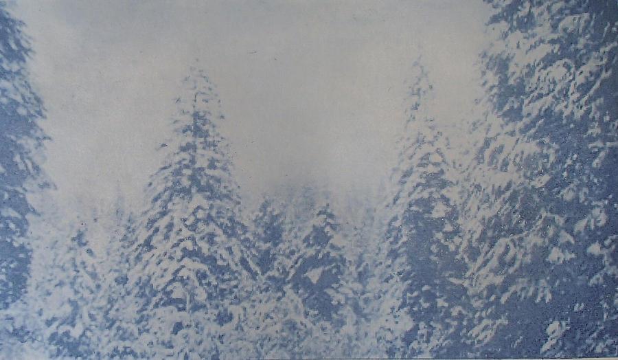 Yosemite Painting - Snowfall in Blue by Philip Fleischer