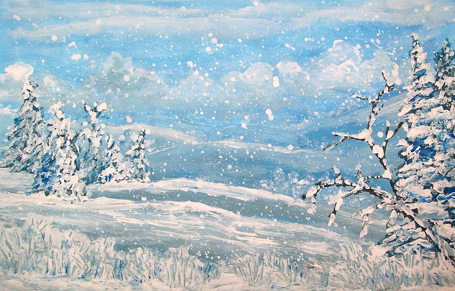Snow Painting - Snowfall by Jeanette Stewart