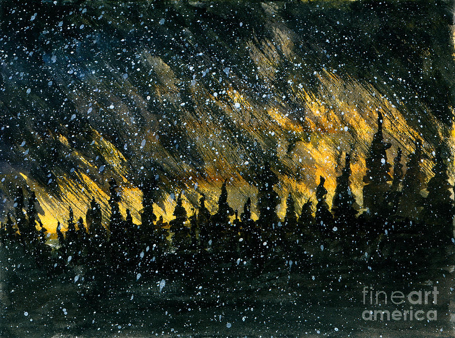 Snowfall On The Forest Painting by R Kyllo