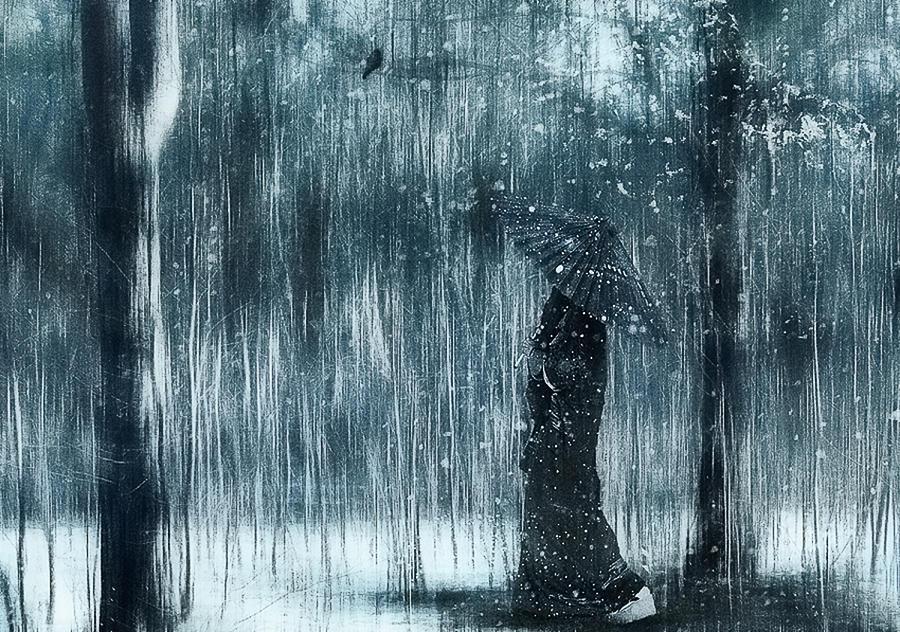 Mood Photograph - Snowfall by Svetlana Melik-nubarova