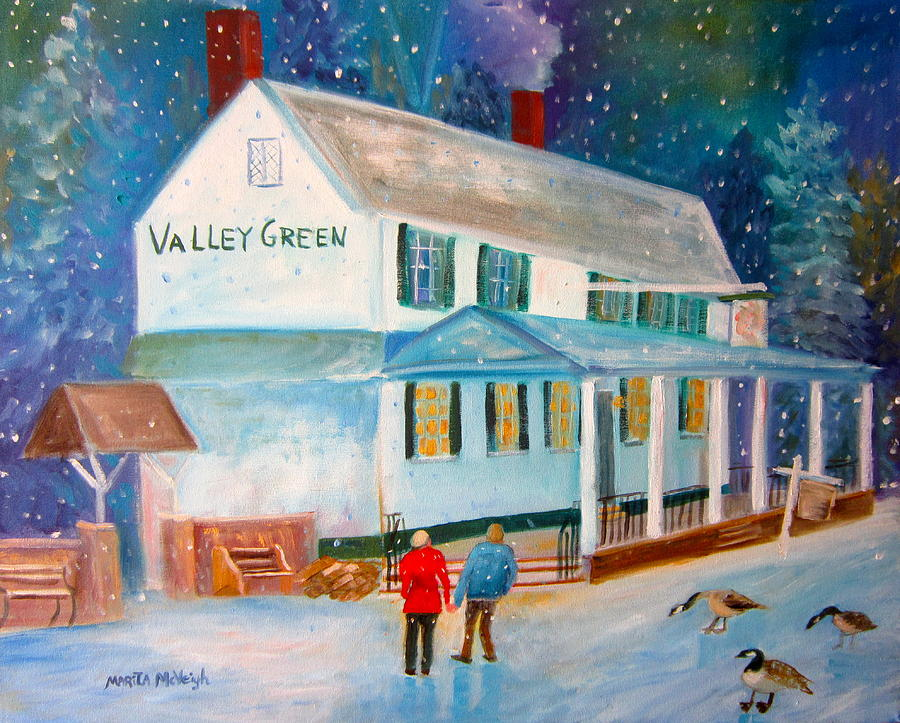 Snowfall Painting - Snowfall ValleyGreen by Marita McVeigh