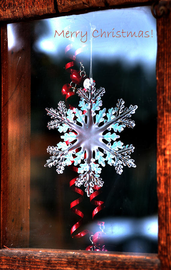 Snowflake In Window Text 20510 Photograph