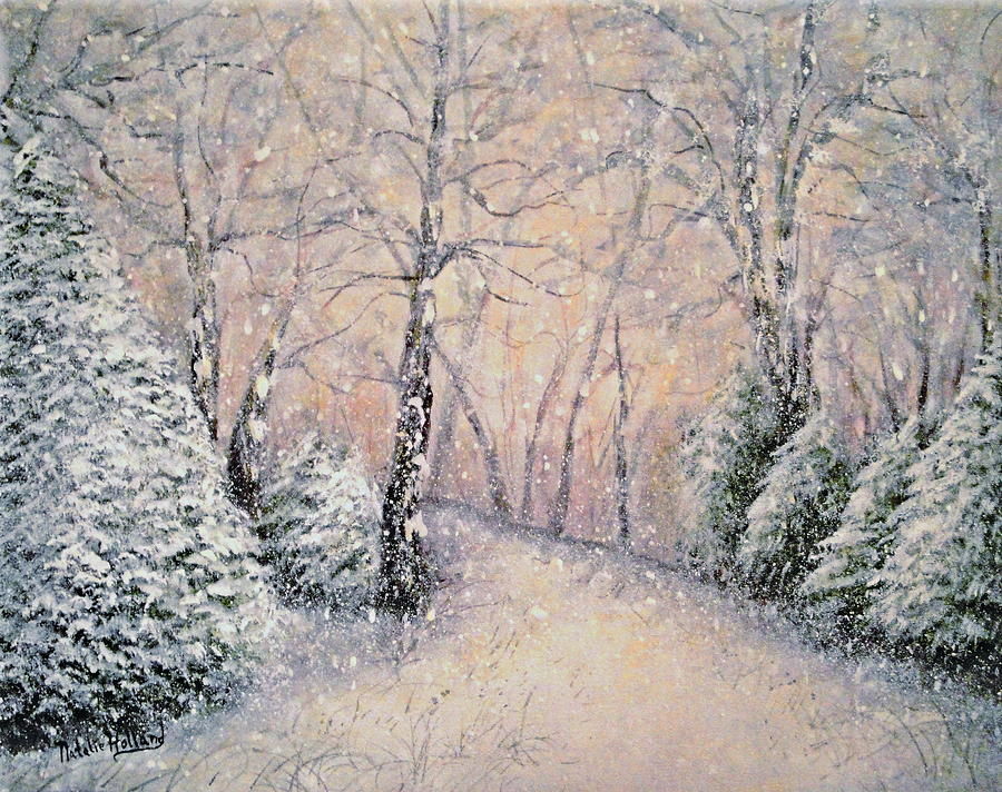 Snow Landscape Painting - Snowflakes by Natalie Holland