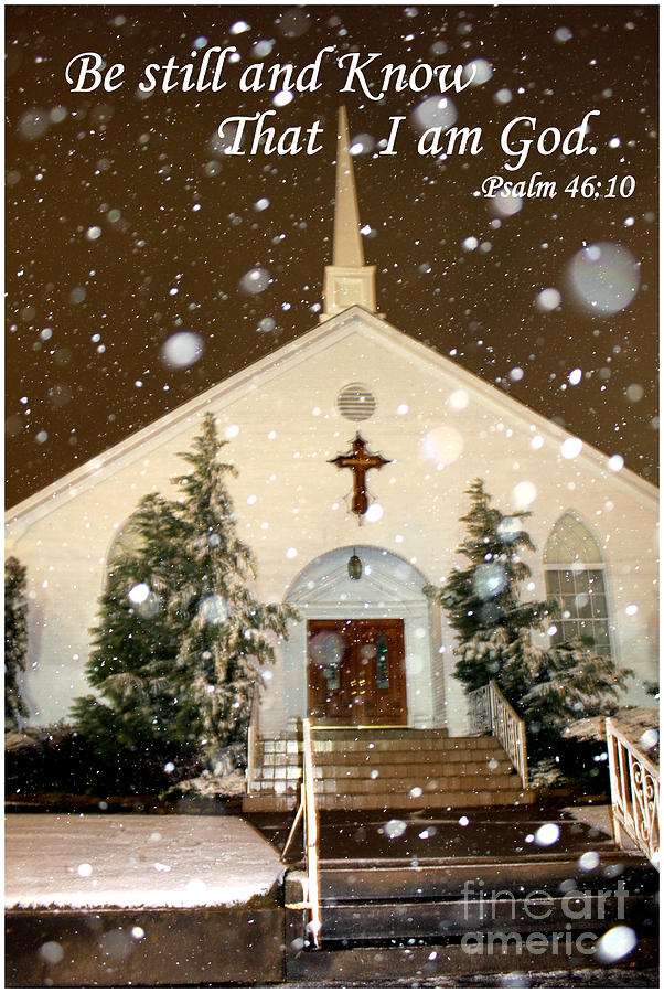 Longview Photograph - Snowing At The Chapel by Kathy  White