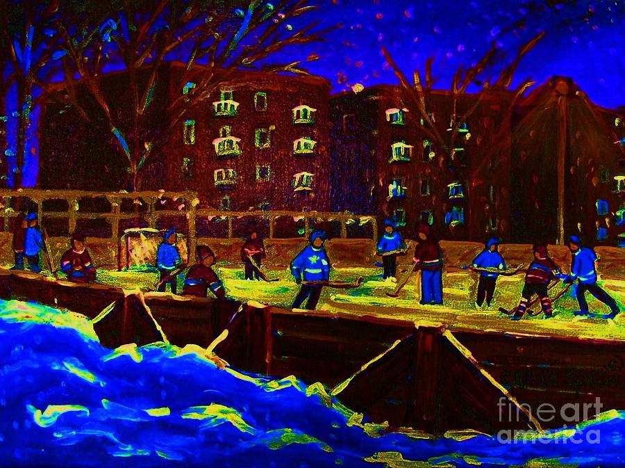 Hockey Painting - Snowing At The Rink by Carole Spandau