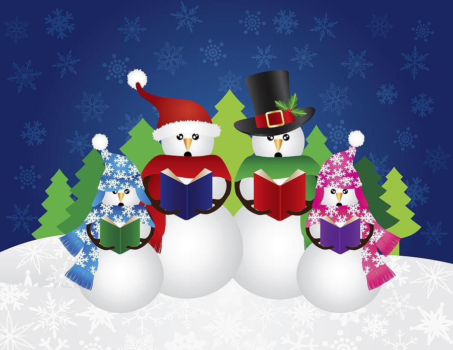 Snowman Christmas Carolers Snow Scene Illustration Photograph