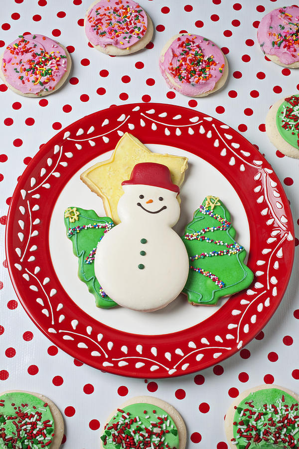 Cookies Photograph - Snowman Cookie Plate by Garry Gay