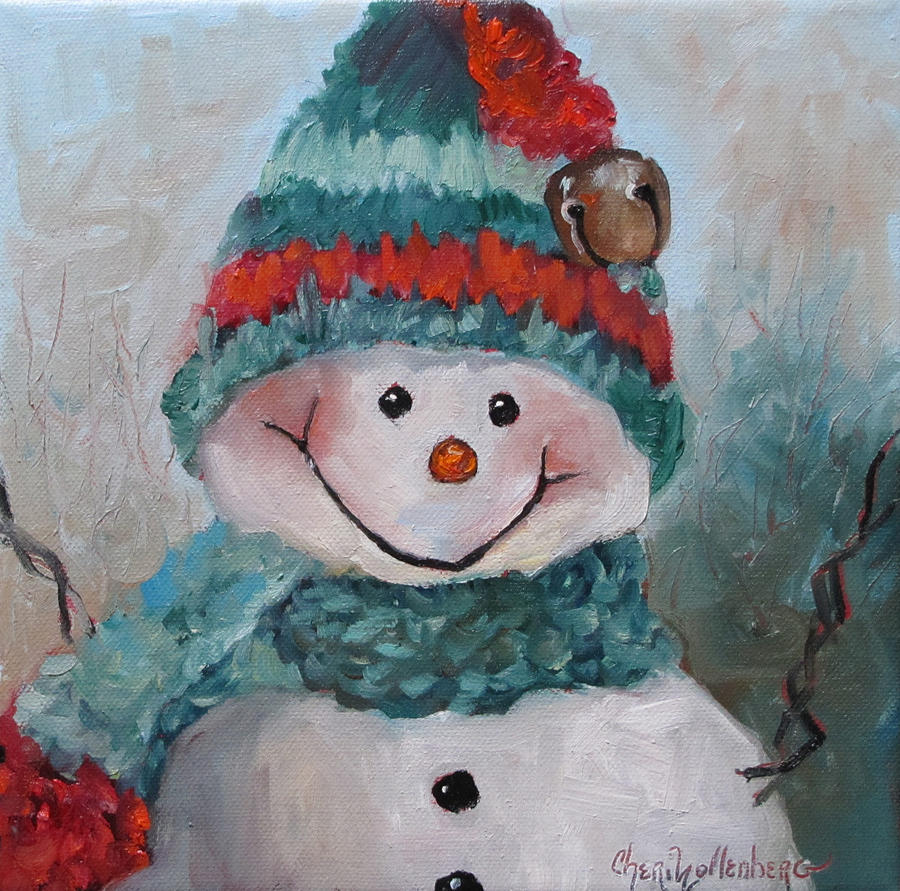 Snowman iii christmas series painting by cheri wollenberg