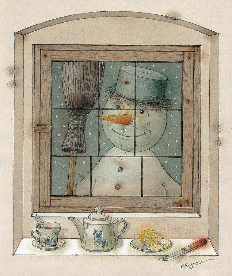 Snowman Painting by Kestutis Kasparavicius
