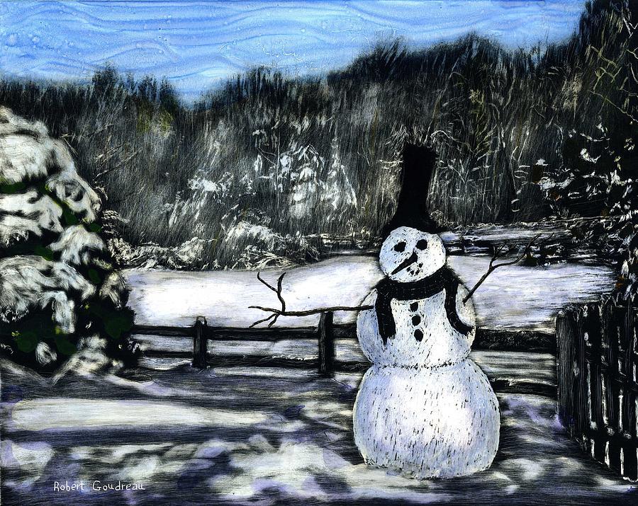 Snowman Painting - Snowman by Robert Goudreau