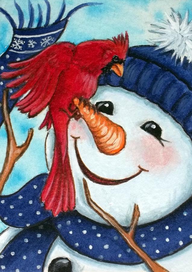 Cardinal Bird Painting - Snowman W/ Cardinal Visitor by Debrah Nelson