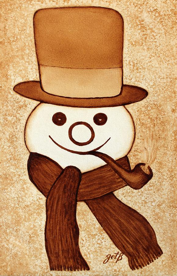 Abstract Snowman Painting - Snowman With Pipe And Topper Original Coffee Painting by Georgeta  Blanaru