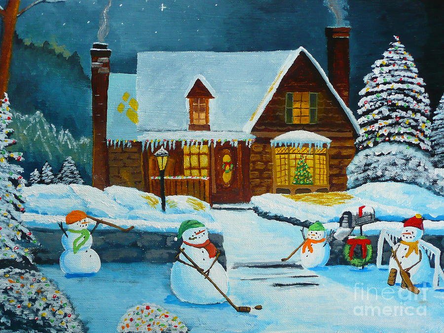 Christmas Painting - Snowmans Hockey by Anthony Dunphy