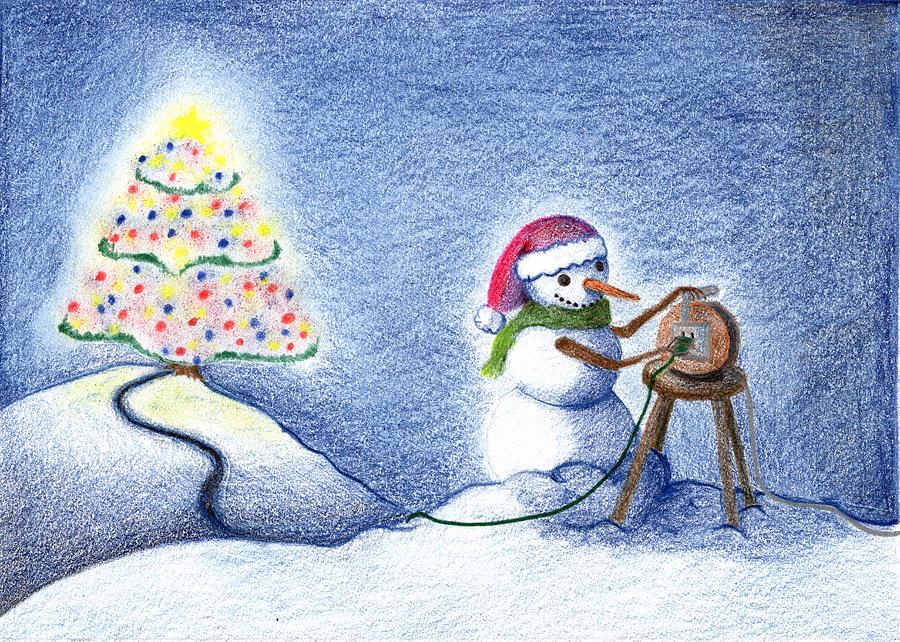 Christmas Drawing - Snowmans Xmas by Keiko Katsuta