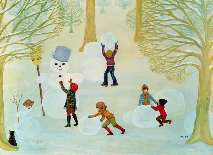 Winter Painting - Snowmen by Ditz