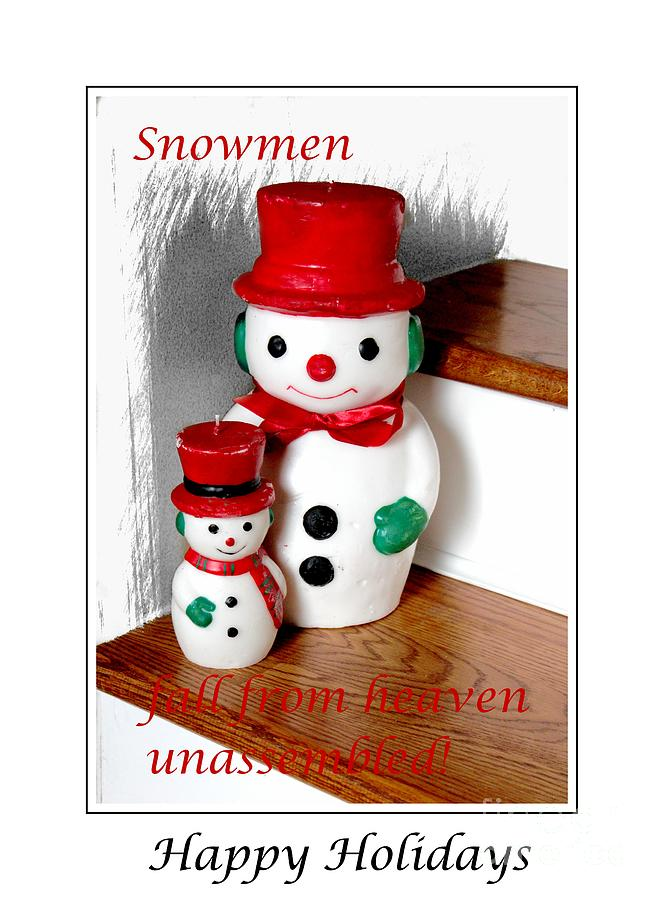 Snowmen Photograph - Snowmen - Greetings - Happy Holidays by Barbara Griffin