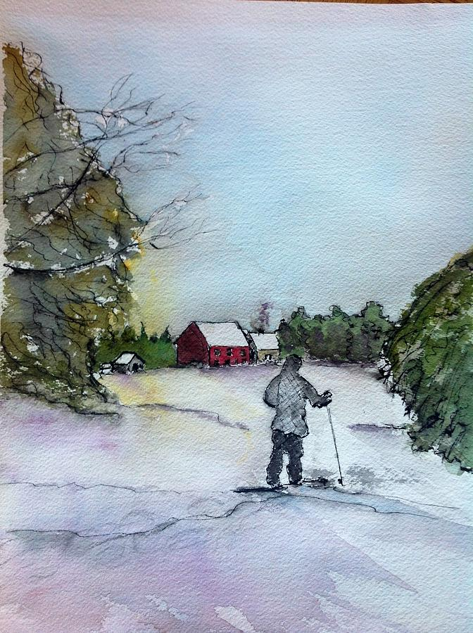 Winter Painting - Snowshoeing In Northern Maine by Peggy Bosse