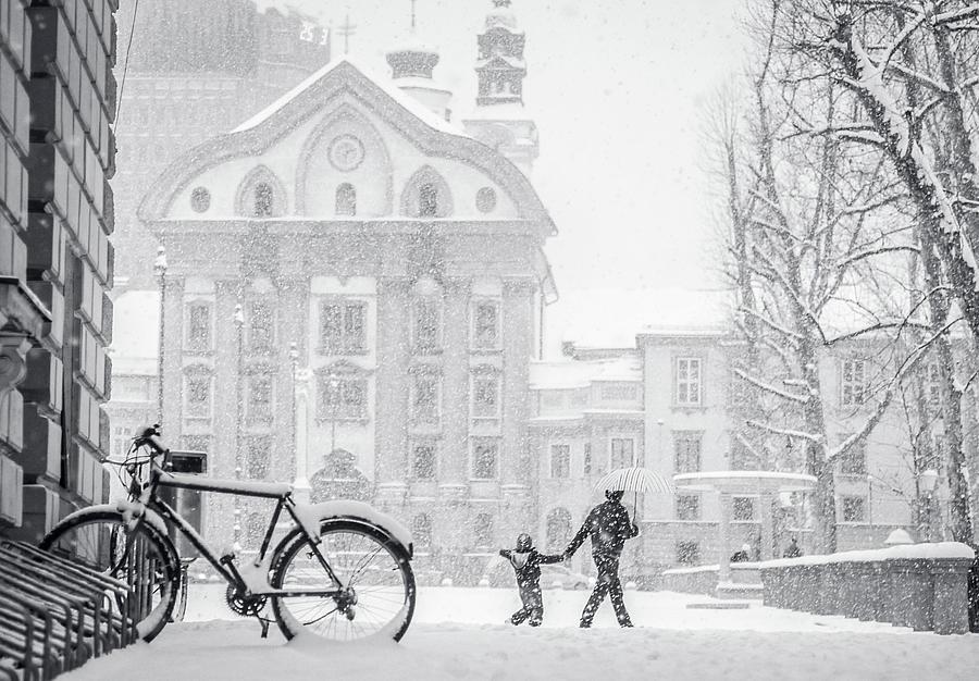 Snowstorm  In Ljubljana Photograph by Photography By Daniel Frauchiger, Switzerland