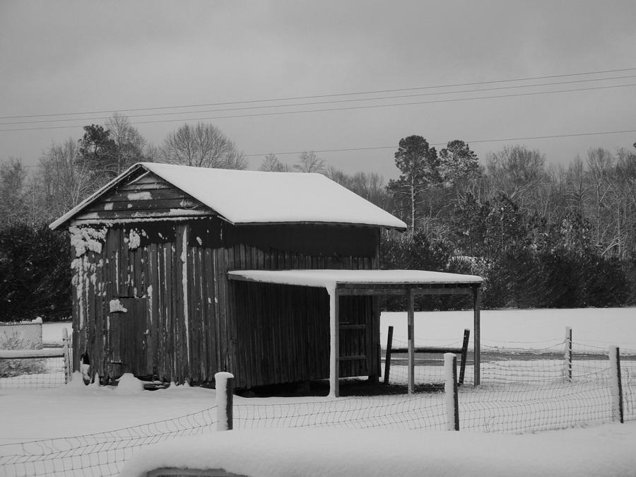 Barn Photograph - Snowy Barn Bw by Nelson Watkins