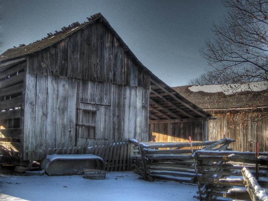 Barn Photograph - Snowy Barn by Jane Linders