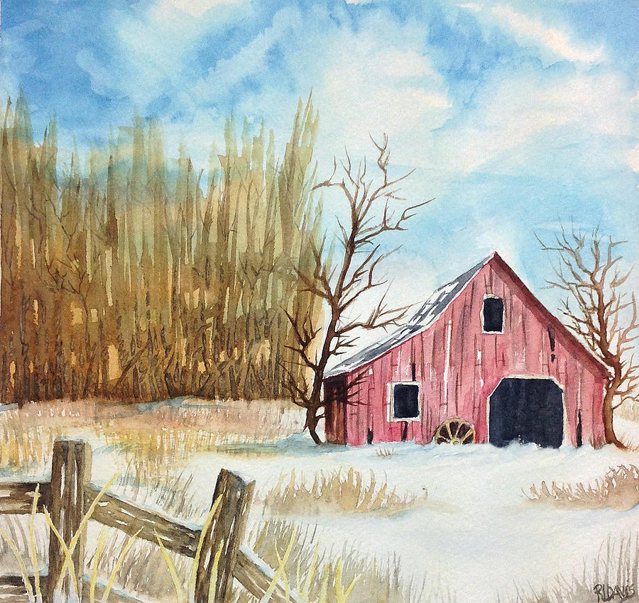 Snowy barn painting by rebecca davis for Watercolor barn paintings