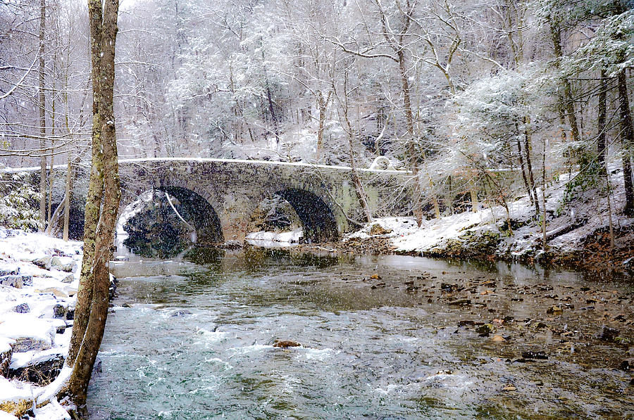 Snowy Photograph - Snowy Bridge Along The Wissahickon by Bill Cannon
