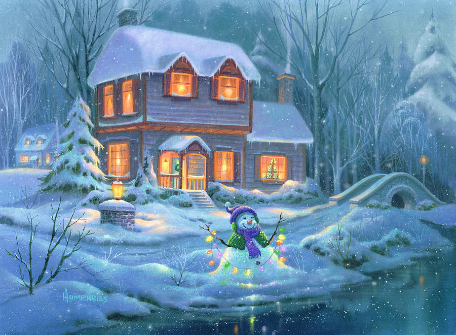 Snowy Bright Night Painting By Michael Humphries