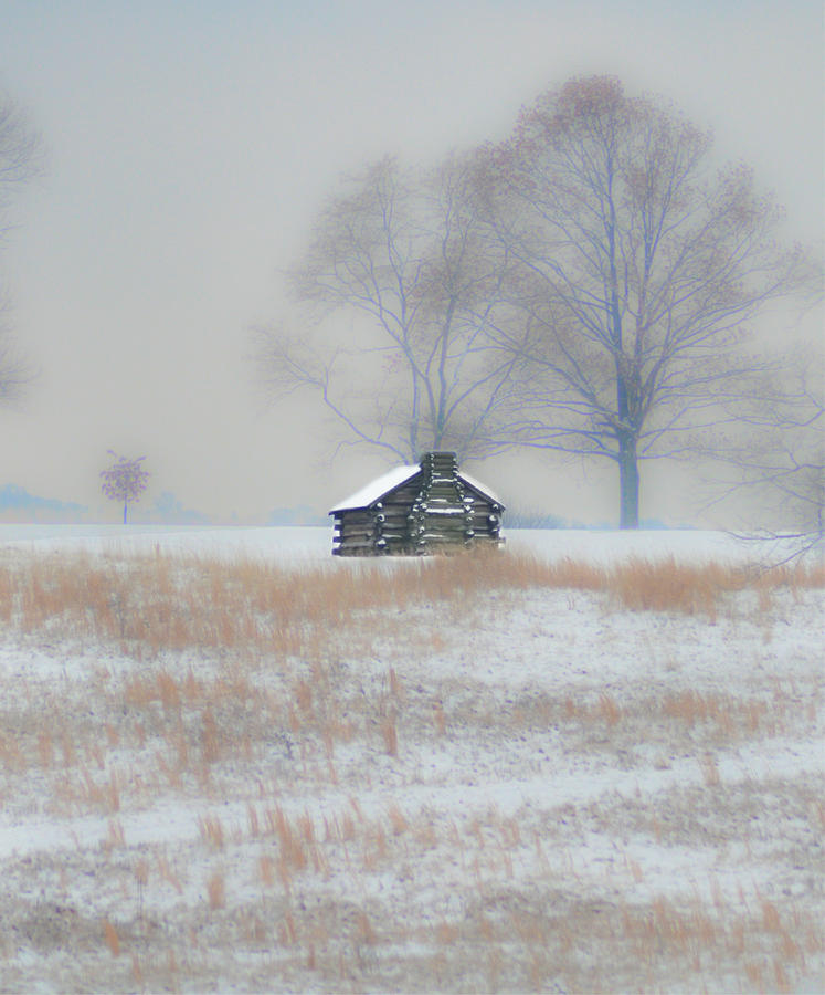 Snowy Photograph - Snowy Cabin At Valley Forge by Bill Cannon