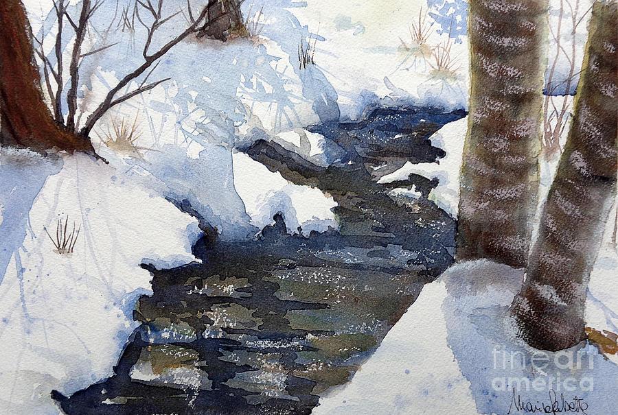 Landscapes Painting - Snowy Creek by Marisa Gabetta