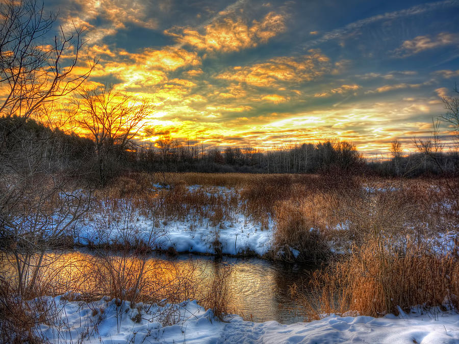 Hdr Photograph - Snowy Dawn At South Ore Creek by Jenny Ellen Photography